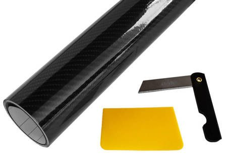 Folia carbon 5D czarna połysk 152x50cm + nożyk i rakla