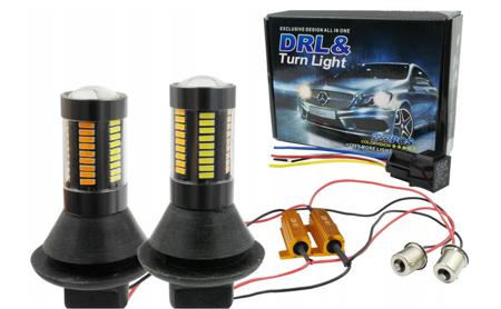 Światła do jazdy dziennej z kierunkowskazem, DRL 2w1 66 SMD BA15s 12V