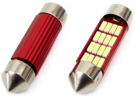 Żarówki C5W SV8,5 36mm Canbus 12 LED 12V, białe
